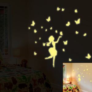 Glow In The Dark Wall Stickers with Fairies and Butterflies
