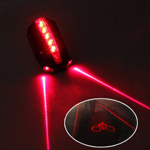 Bike Light 2 Laser + 5 LED Rear Bike Tail Light with Red Beam Safety Warning