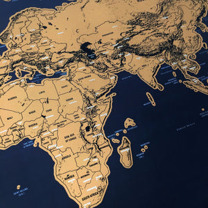 Deluxe World Map Mini Foil Layer Coated Poster