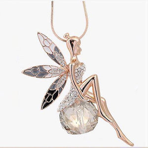 Rhinestone Elf, Fairy on Crystal Pendant with Necklace