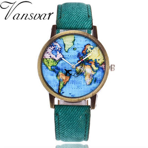 Global Travel By Plane Map  Quartz Wrist Watch with Denim Fabric Band
