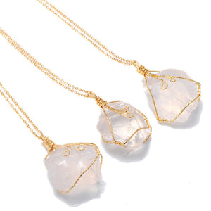 Natural Crystal Necklace with Quartz Pendant