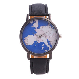 Europe Map Analog Quartz Wrist Watch with Leather Band