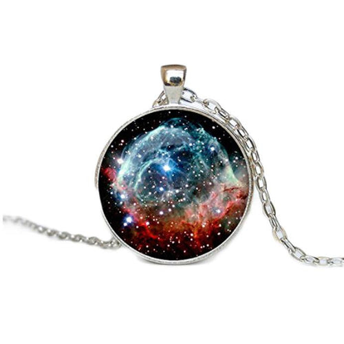 Women Fantasy Nebula Antique Bronze Pendent with Long Chain