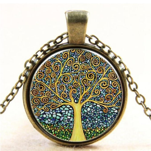 Women Fantasy Tree Antique Bronze Pendent with Long Chain