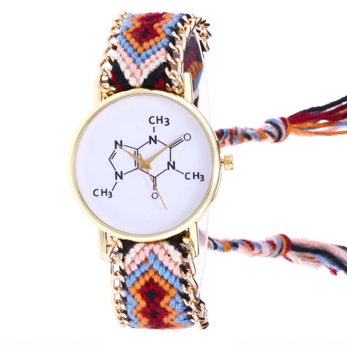 Chemical Element Quartz Wrist Watch with Knitted Rope Band