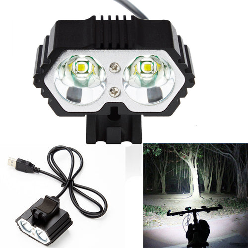 1pc 6000LM 2 LED USB Waterproof Lamp