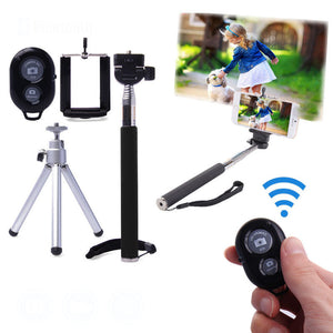 Monopod Selfie Stick Handheld Tripod with Bluetooth and Wiress Remote or Bluetooth