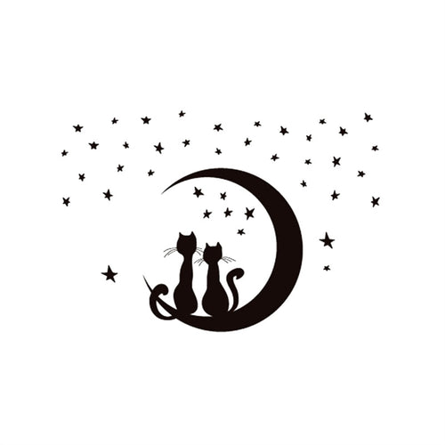 Two Cats Sitting on Moon Enjoying the Stars