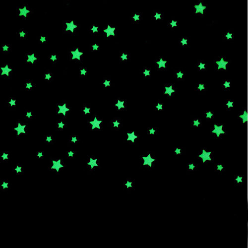 100PC Beautiful Fluorescent Glow In The Dark Plastic Stars
