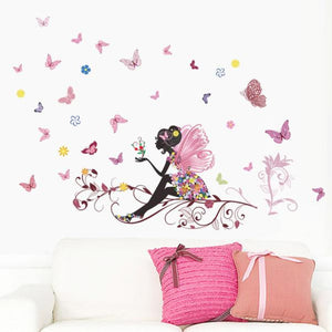 Butterfly Flower Fairy Wall Stickers