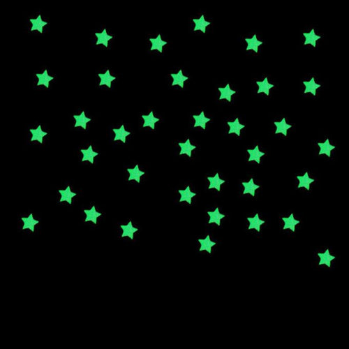 100PC Blue or Pink Fluorescent Glow In The Dark Plastic Stars