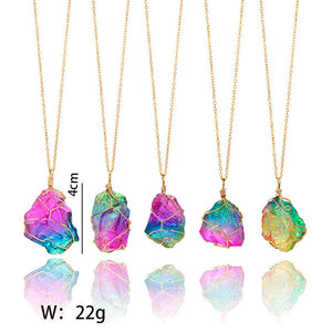 Medium Rainbow Stone Crystal Gold Plated Wire Wrap Pendant with Necklace