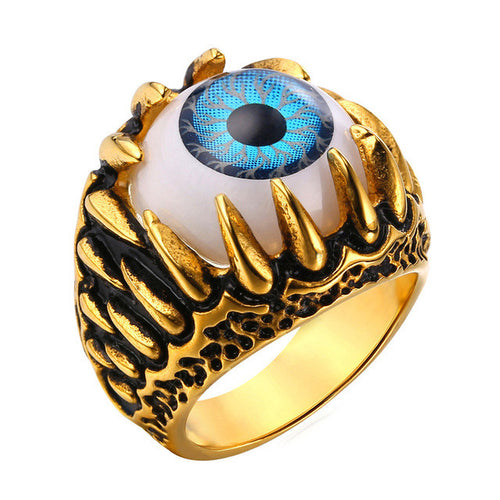 Stainless Steel Blue Eye Amulet Ring