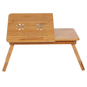 Adjustable Laptop Natural Bamboo Desk with Tilting Top and Drawer