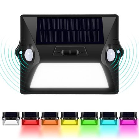 Solar Powered 12 LED Colorful Security Wall Dual Head Outdoor Lamp with Motion Sensor