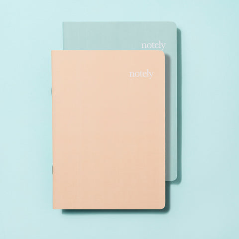 Coral & Turquoise A5 Notebooks (set of 2) - by Notely