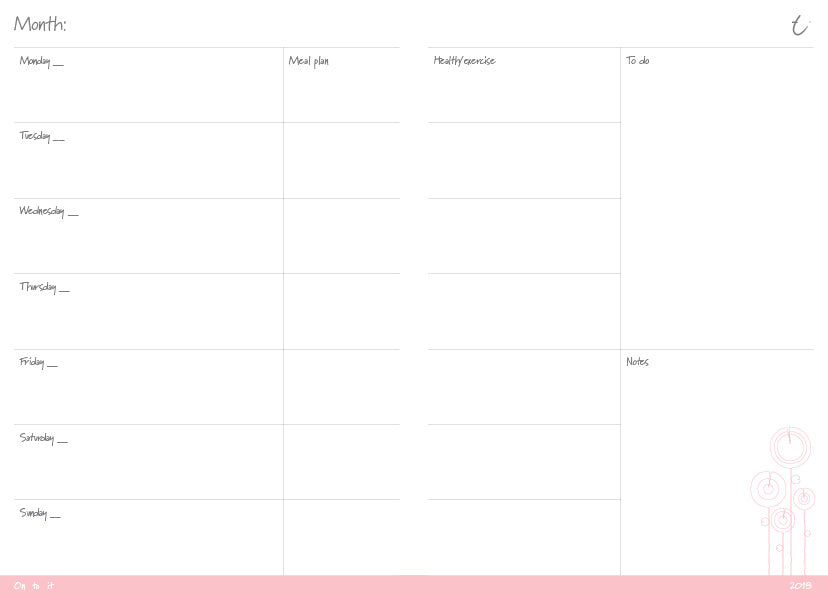 OTi weekly planner printable