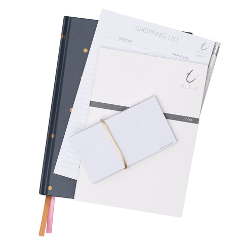 2019 OTi Organiser Grey + Shopping List + Notes Booklets + Sticky Notes