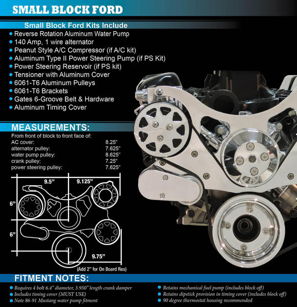 All American Billet Small Block Ford SBF 289 302 351W Windsor Serpentine Kit