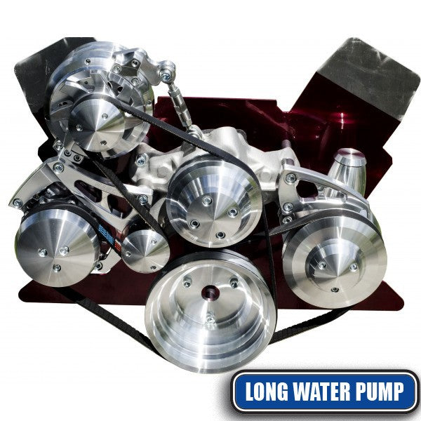 March Performance Chevy Small Block Long Water Pump Serpentine Kit Billet Accessory