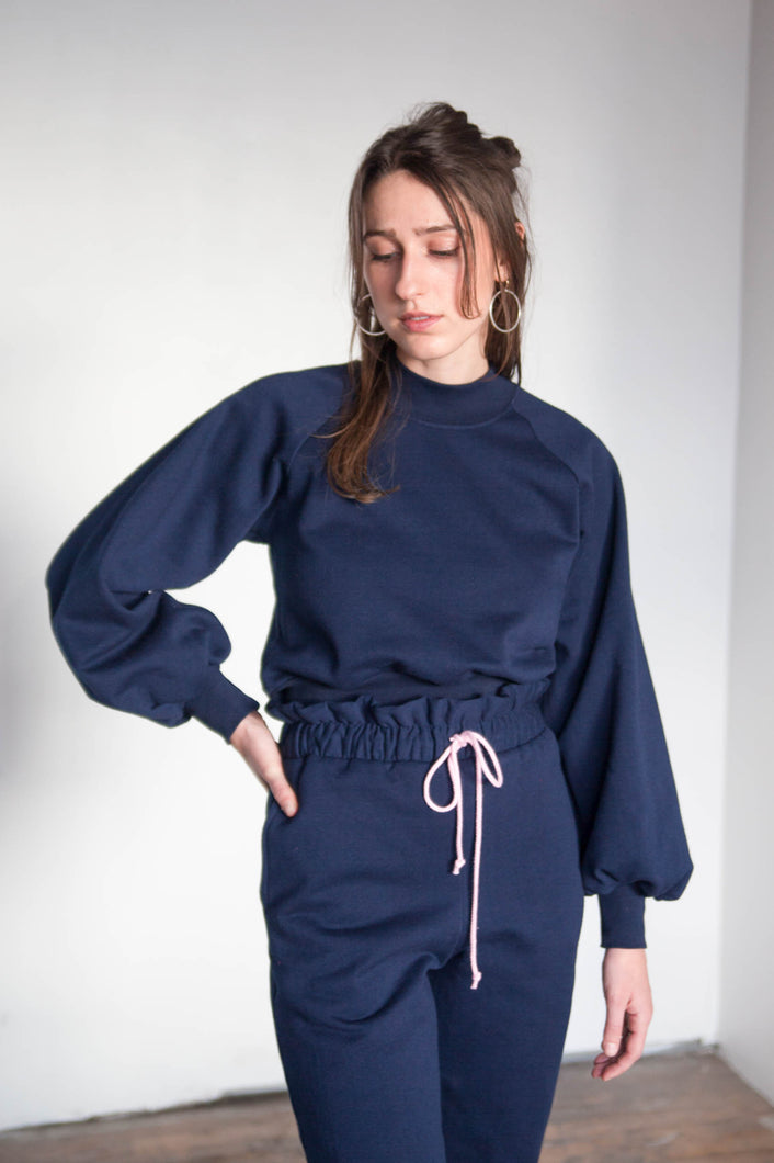 SIGRID Mockneck Sweater - Navy