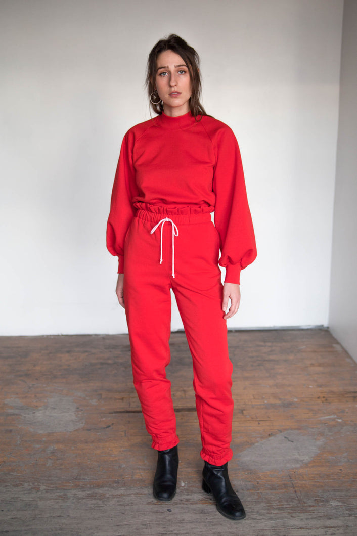 RUFFLE Sweatpants - Red