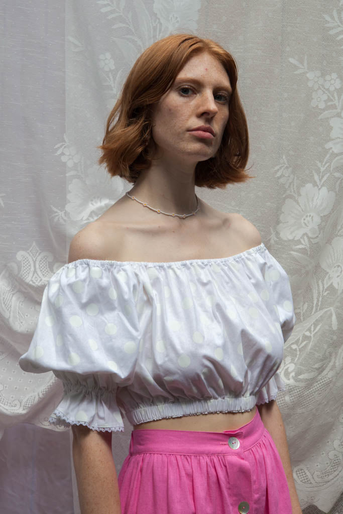 PEASANT Blouse in White Polka Dot