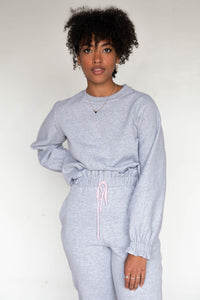 RUFFLE Crewneck Sweater - Heather