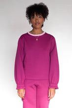 RUFFLE Crewneck Sweater - Raspberry