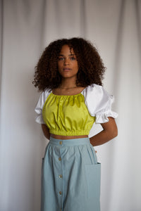 PEASANT Blouse in Chartreuse