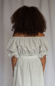 PEASANT Blouse in Pinstripe