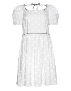 LOLA Dress in White Polka Dot