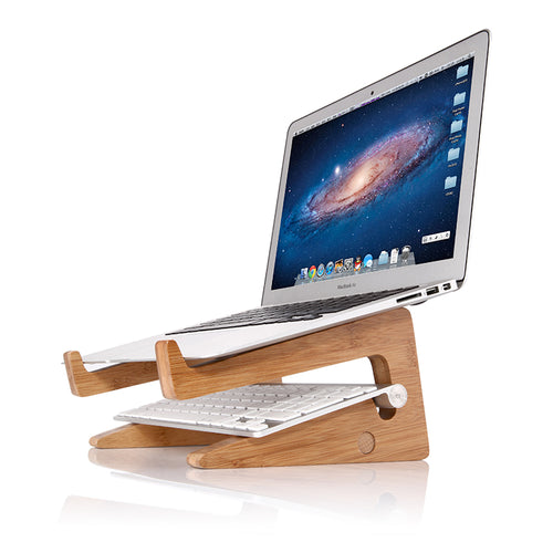 Detachable Mount Holder Cradle Wooden Desktop Stand for Laptops Tablets iPad Macbook Air or Pro