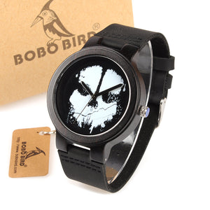 BOBO BIRD Ebony Wood Mens Watch Skull with Leather Strap