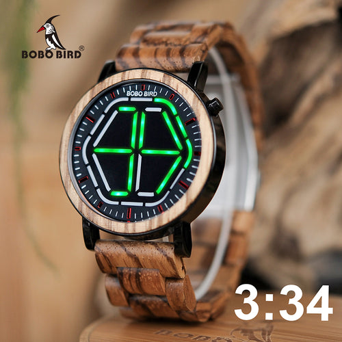 BOBO BIRD Bamboo Colorful LED Digital Watch Night Vision