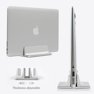 Aluminum Vertical Laptop Stand Thickness Adjustable Desktop NoteBooks Holder Erected Space-saving Stand