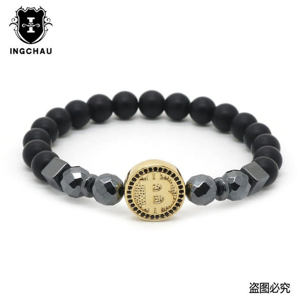 "Hematite Stone Crystal ""Bitcoin"" Bracelet Collection"