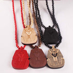 "Good Wood ""Egyptian Pharaoh"" Rosary Necklace"