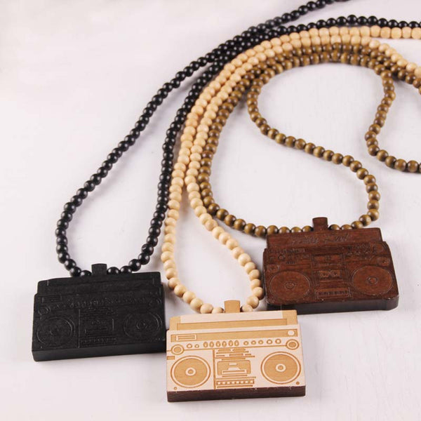 "Vintage NYC Good Wood ""Radio Pendant"" Necklace 3 colors"