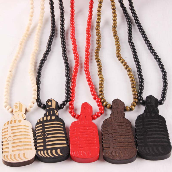 "Vintage NYC Good Wood ""Microphone Pendant"" Necklace 5 Colors"