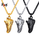 "Gold/Black ""Running Shoes Pendant"" Necklace"