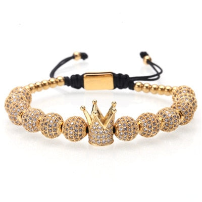 "Mcllroy Gold ""Diamond Beaded"" Crown Bracelet"