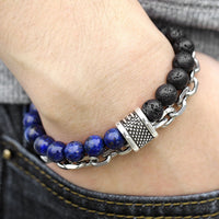 "Natural ""Stone Beaded"" Steeel Bracelet Collection"