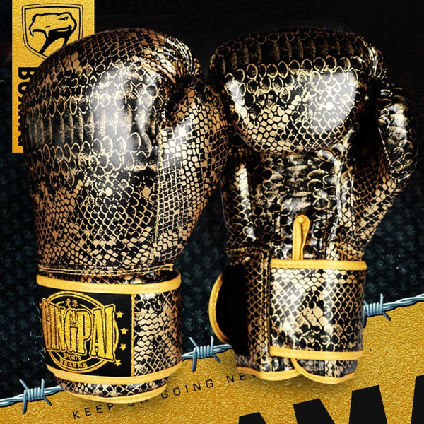 Limited Edition Gold & Silver Python Leather Boxing Gloves