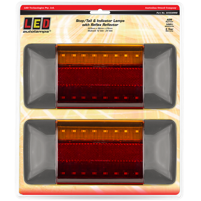 LED Autolamps 223CARM2 Chrome Stop/Tail & Indicator Lamps - Pair