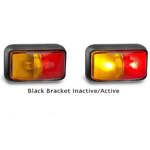 58 Series Red/Amber Side Marker with Black Bracket - Each
