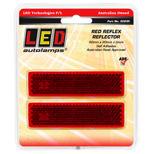 LED Autolamps 9020R Red Stick On 90 x 20mm Reflector - Pair