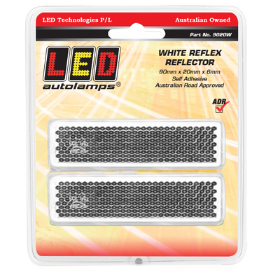 LED Autolamps 9020W White Stick On 90 x 20mm Reflector - Pair