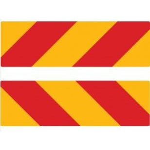 Pair of Fleetline Chevron Rear Marker Stickers 600 x 150mm Class 1